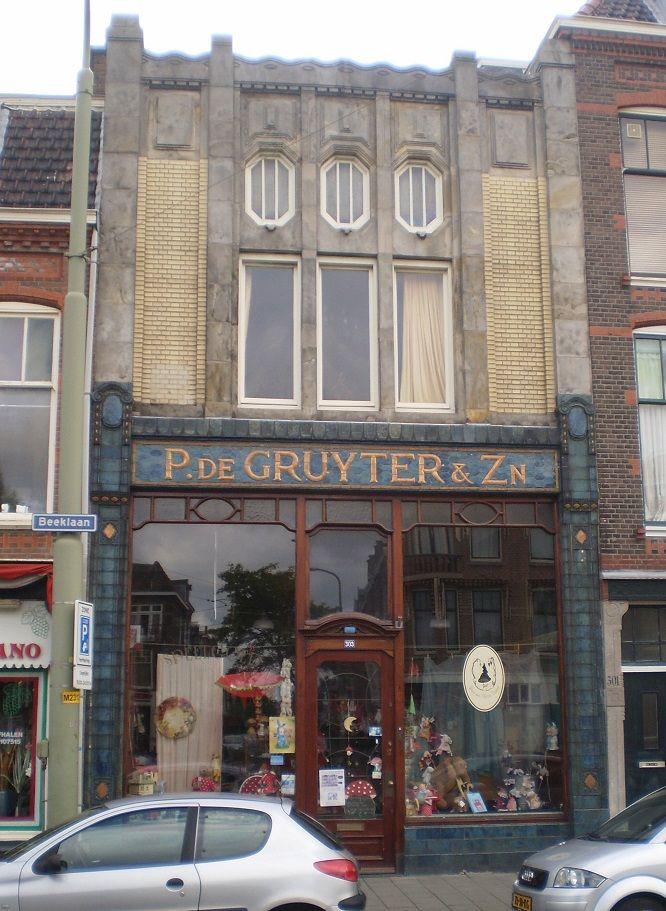 Art Nouveau in Beeklaan, P de Gruyter & Zoon building. http://maninblue1947.wordpress.com/tag/beeklaan/
