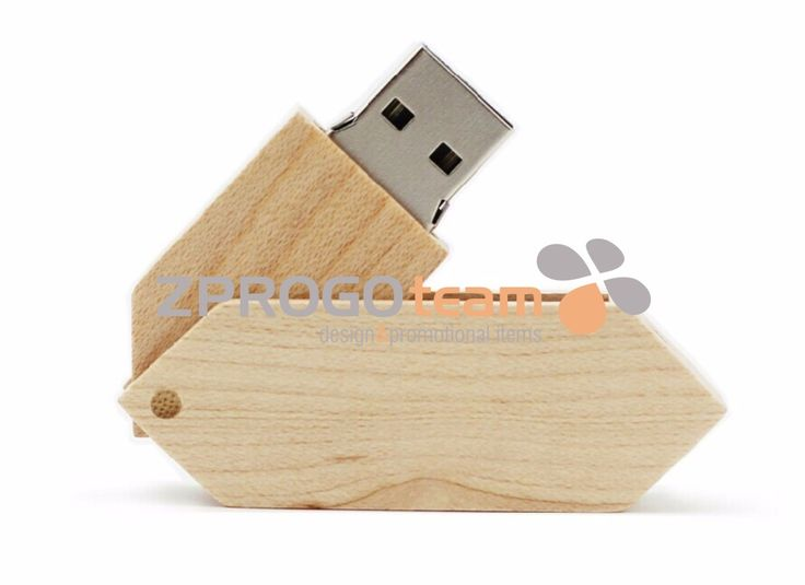 NEW: Promotional wooden USB flash drive with rotating parts.