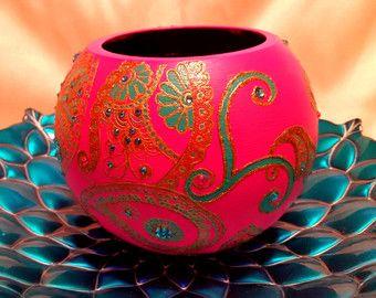 Henna/Mendhi inspired Hot PinkGlass Vase by HennaCreationsofeNVy