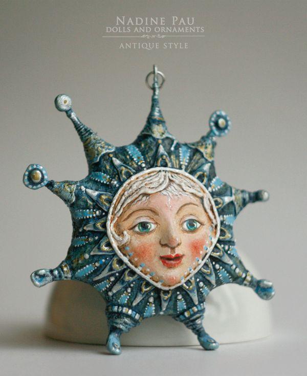 """Little Star"" by Nadine Pau. Christmas ornaments. Papier mache, oil patina varnish. Sold #christmasornaments #nadinepau"
