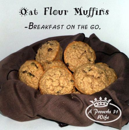 Oat flour muffins with raisins make a great breakfast on the go. Not to mention, it tastes just like oatmeal in a muffin!  #easybreakfast #glutenfree    http://aproverbs31wife.com/oat-flour-muffins/