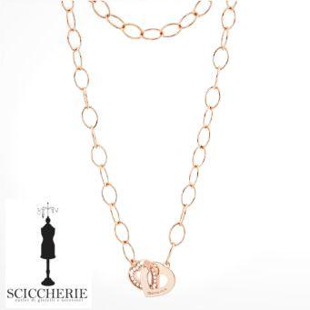 Rebecca Gioielli Collezione San Valentino.  Collana a maglie in bronzo bagnato in oro rosa.   #sanvalentino #sciccherie #collana