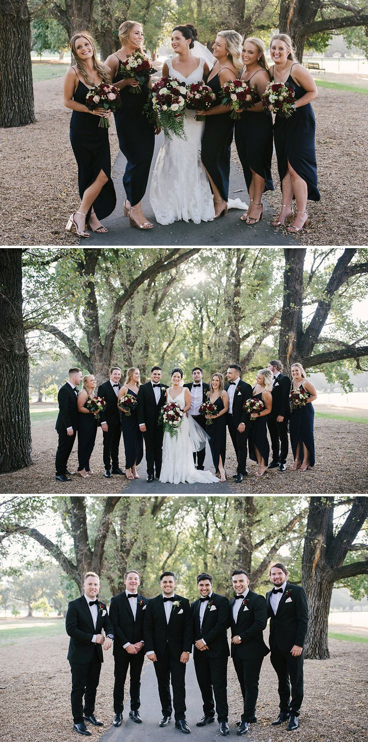 Modern black tie bridal party with navy bridesmaid dresses and burgundy bouquets | Bec Matheson Photography