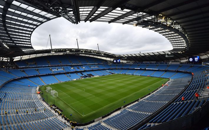 Download wallpapers Etihad Stadium, Manchester City, sports arena, football lawn, grandstands, Manchester, England, UK, 4k
