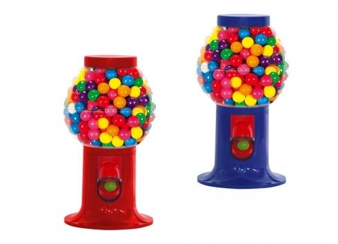 GUMBALL MINI PLASTICA (caramelle non comprese) 2 varianti. Mini distributore di chewingum in plastica nei colori blu e rosso. Non comprende le chewingum all'interno