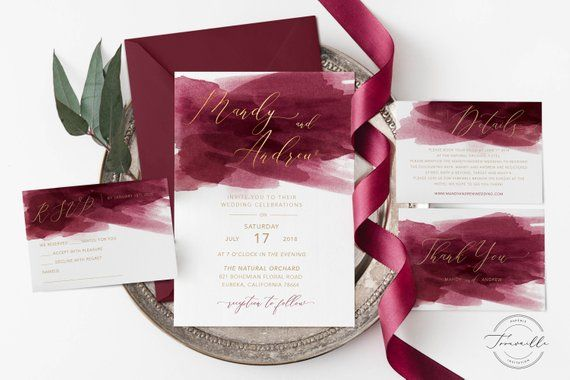 Burgundy Watercolor With Champagne Gold Invitation Template Wedding