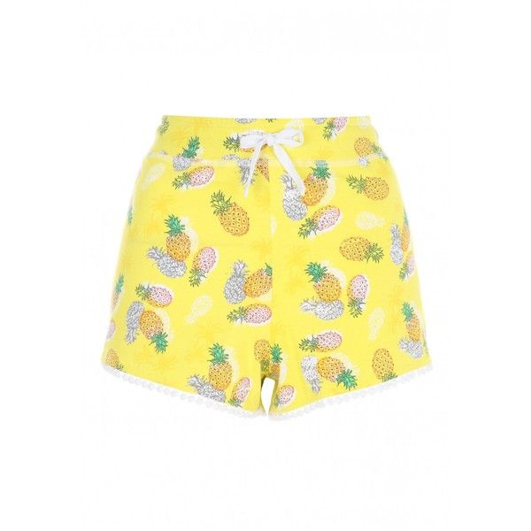 Womens Yellow Pineapple Printed Shorts ($8.91) ❤ liked on Polyvore featuring shorts, pineapple shorts, pineapple print shorts and yellow shorts