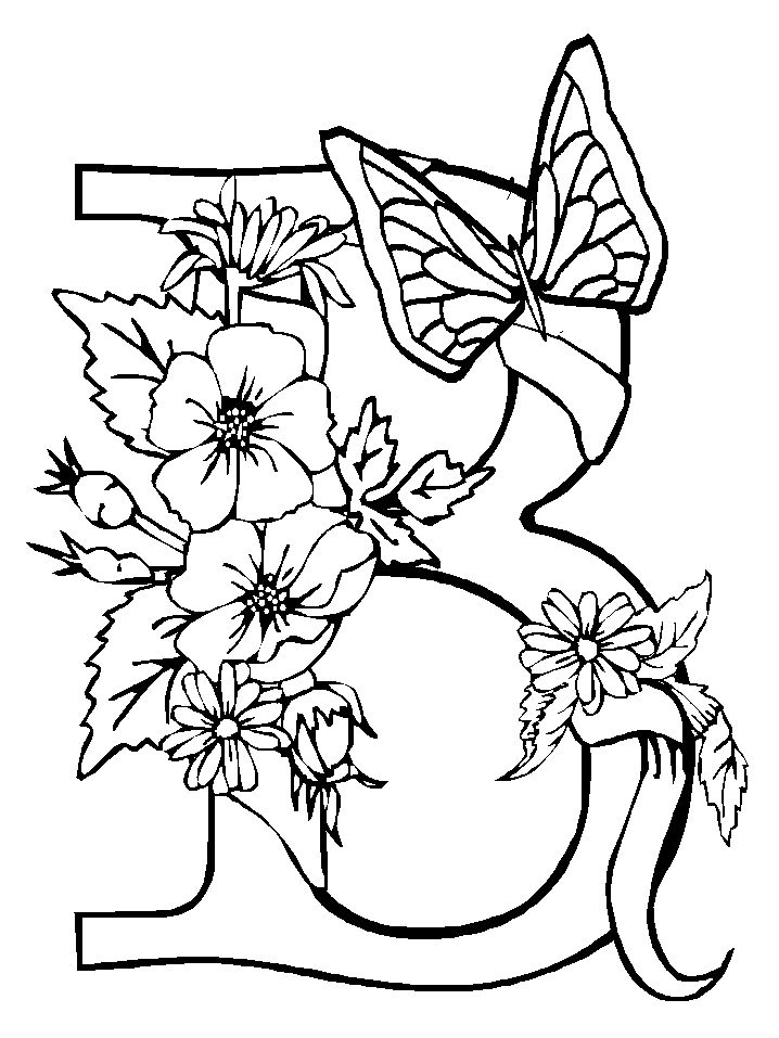 letter b butterfly and flower near the coloring for kids