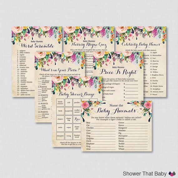 Floral Baby Shower Games Package Seven by ShowerThatBaby on Etsy