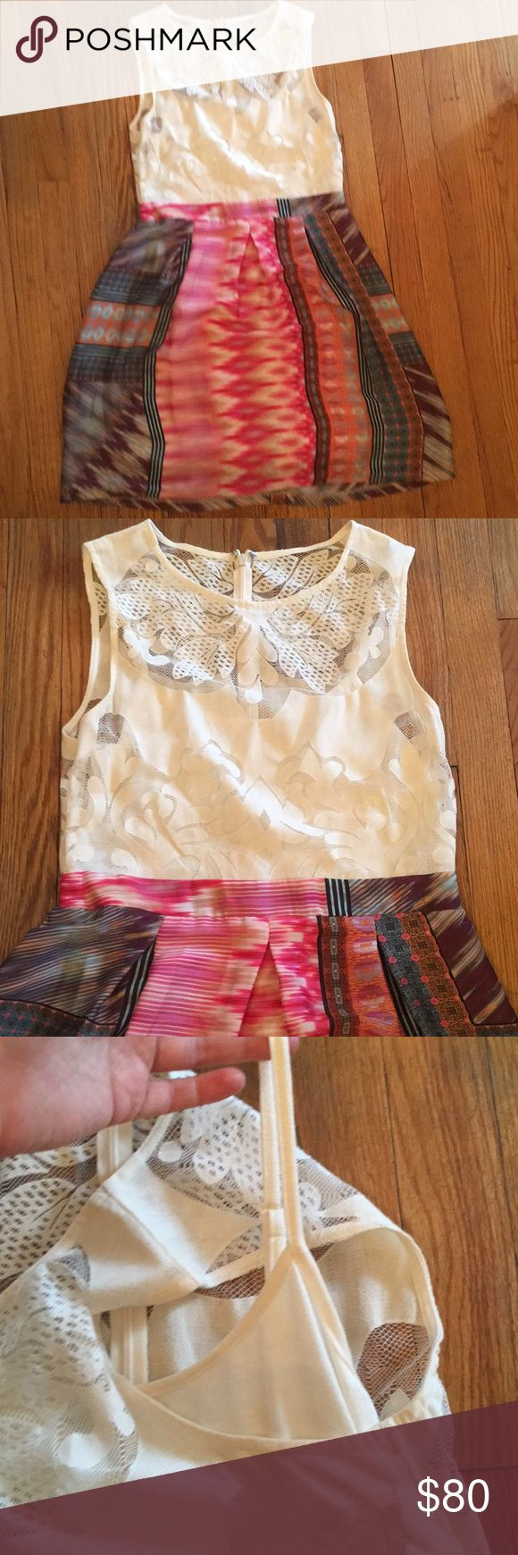 Anthropolgie multicolor summer dress Worn only once! This dress is really beautiful and flattering. Patterned silk skirt with attached ivory lace sleeveless top and cotton cami underneath. The brand is Weston. Tag says 10 but I think it fits smaller. Anthropologie Dresses Midi