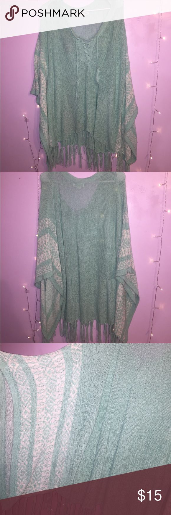 Batwing sleeved sweater Mint green batwing sleeved sweater wth fringes at the bottom and tie top on the chest area Sweaters Shrugs & Ponchos