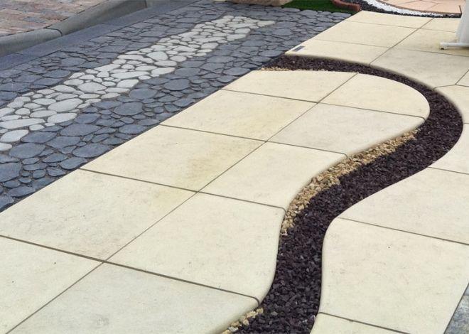 Jednotlivé desky dlažby SOLETA jsou tvarovány tak, aby z nich bylo možné vydláždit plochu se zajímavě tvarovanými okraji. Základem je 10 dlažebních desek pro rovné úseky nebo vlny a oblouky.