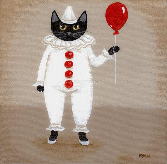 Halloween Clown Costume Cat Original Folk Art by KilkennycatArt