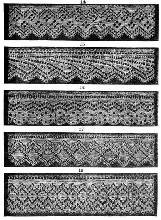 Welcome to Historic Needlecrafts- Patterns from the past brought back to life for modern knitters    5 Victorian knitted lace edgings: Set 3 from a