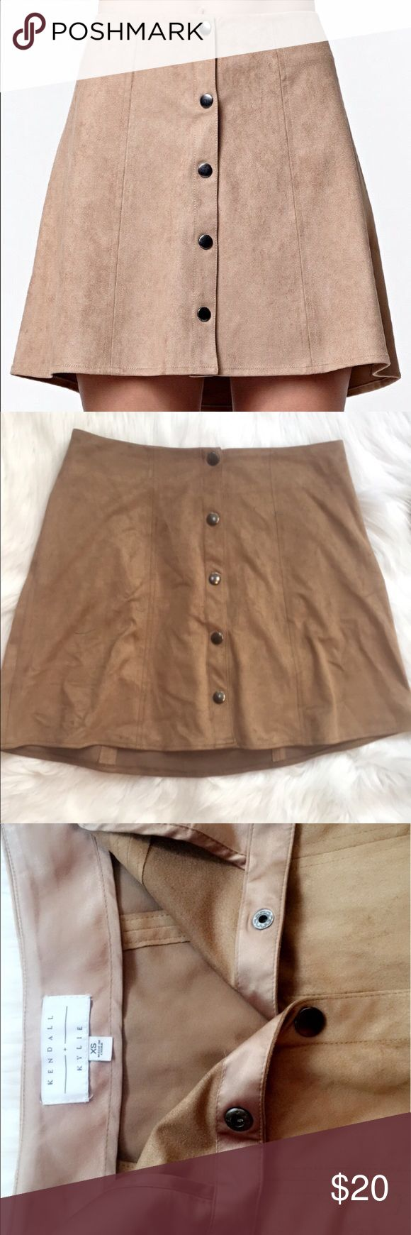 Kendall & Kylie Suede Skirt These are out of stock forever, from Kendall X Kylie Fall Collection. My skirt only has a few markings from a blue pen, and I haven't tried to get the stains out myself so they still could come out. Make me reasonable offers!!! Fits waist size 23-26 I think this was before they made all of their clothes super tiny 😂😂😂 Kendall & Kylie Skirts
