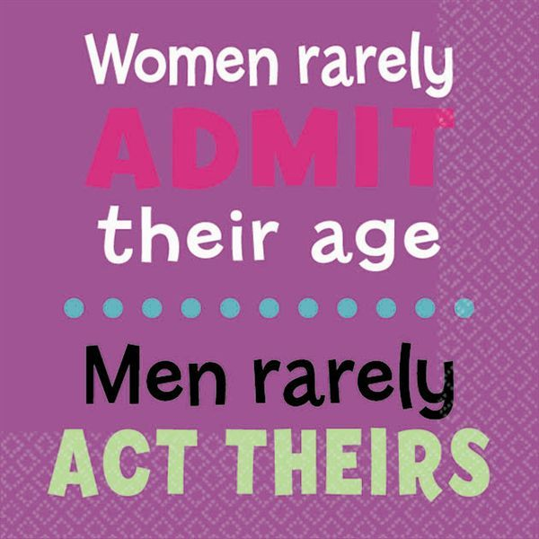 """Give the girls a giggle with our """"Women rarely admit their age .men rarely act theirs"""" birthday beverage napkins. Each package contains 16 durable, 2-ply napkins on a fun purple background. Text is featured on both sides and napkins can be coordinated with several of our milestone birthday themes."""