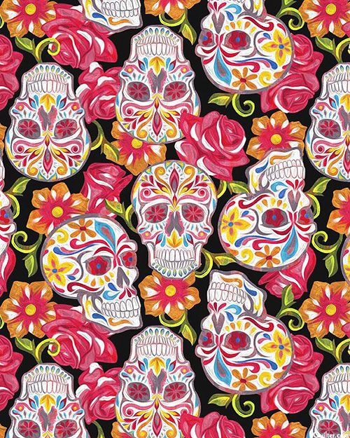 267 best holidays celebrations images on pinterest panel quilts fabric online and celebrations - Sugar skull background ...