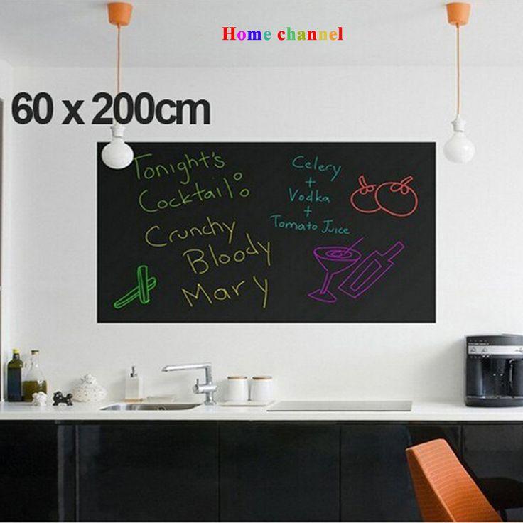 Duvar Çıkartmaları Karatahta çıkartmalar çocuk çizim oyuncak Vinil Kara Tahta 60*200 CM