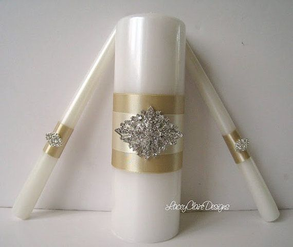 Unity Candles Wedding Unity Candle Ceremony by LaceyClaireDesigns, $49.00. Do this but make the gold plum
