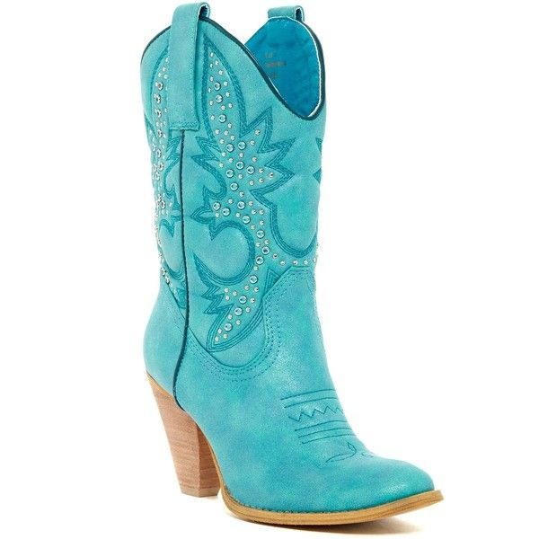 Very Volatile Rosy Western Boot ($60) ❤ liked on Polyvore featuring shoes, boots, mid-calf boots, turquoise, studded cowgirl boots, chunky high heel boots, embroidered cowboy boots, high heel cowgirl boots and cowgirl boots