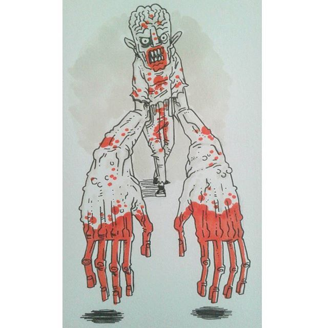 """""""Ketchup Disaster""""  #kenny_poppins #dailydoodle #sketchbook #drawing #ink #markers #zombie #ketchup"""