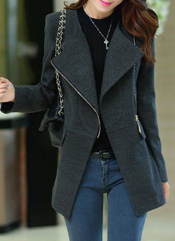 Stylish Turn-Down Collar Long Sleeve Slimming Coat For Women $32.24
