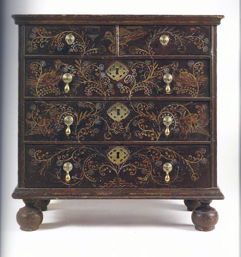 "A William & Mary Diminutive Paint-Decorated Pine Chest-Of-Drawers, Signed by Robert Crosman (1707-99), Taunton, Massachusetts, Dated 1729. One upper drawer with ""1719"" and the reverse with painted reserve ""Taun Ton, / R, C:/ 1719"". Dimensions: 22 3/4 in. high, 22 3/8 in. wide, 12 1/2 in. deep"