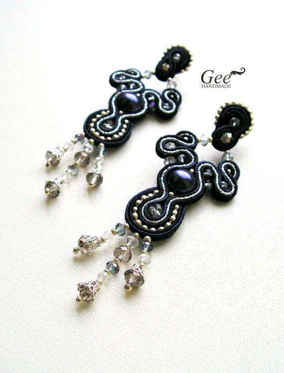 Soutache earrings Blue night by geehandmade on Etsy