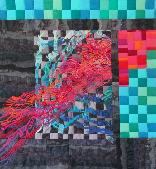 """Revolution 2011: Order and Disorder""  by  Multicolored Pieces (Tunisia).  Nov. 2011, hand appliquéd; machine appliquéd, pieced, and quilted. 41 x 46"""