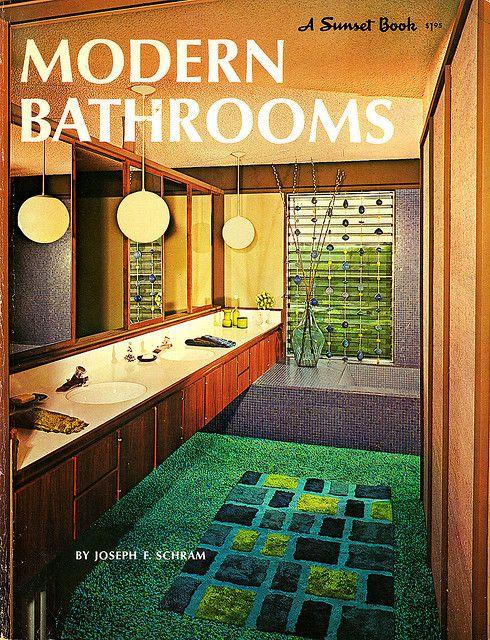 Modern Bathrooms 1968 Sunset Book Retro Home Mid
