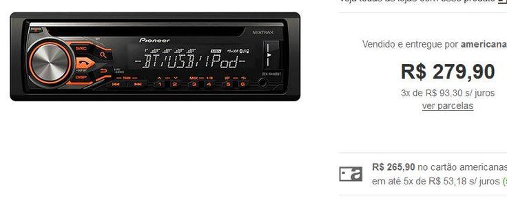 Som Automotivo Pionner DEH-X4880BT com CD Player AM/FM Bluetooth Entrada USB Sistema Mixtrax << R$ 27990 em 3 vezes >>