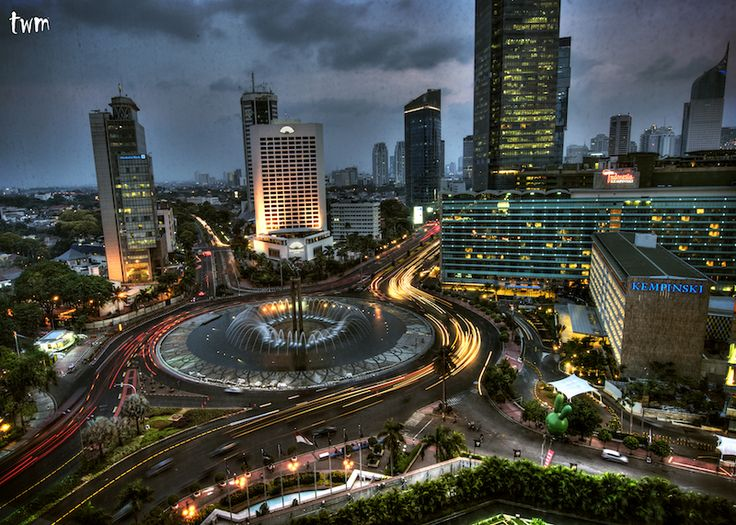 Jakarta, Indonesia, one of the largest cities in the world. At night, it reminds me of a mix between Las Vegas and N.Y.C.