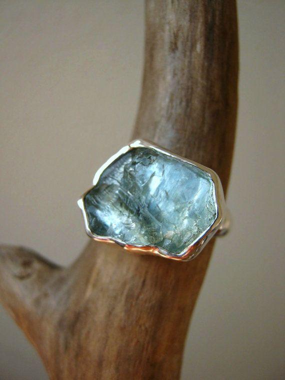 Big Rough Aquamarine Ring Sterling Silver Custom by metalmorphoz, $185.00