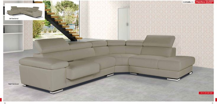 Pacifico Taupe Genuine Italian Leather Sectional Sofa