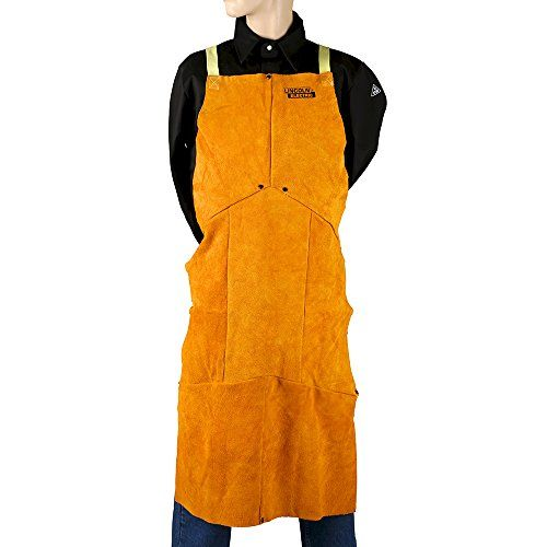 Lincoln Electric Brown One Size Flame-Resistant Leather Welding Apron - This Lincoln Electric leather welding apron protects clothing and skin from welding spatter. It can be worn over a welding jacket when additional protection is required or used for light welding over clothing. It is made of weather-resistant, heavy split cowhide for durability, and it is flame-re...