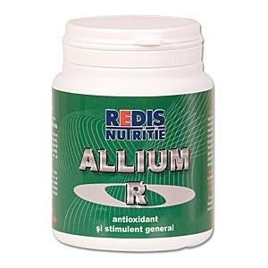 Allium-R este un stimulator general al organismului si un puternic antioxidant. O cutie contine 100 capsule.