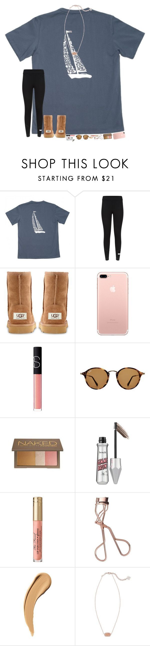 """""""it's almost time to start listening to Christmas music!! """" by hopemarlee ❤ liked on Polyvore featuring adidas, UGG Australia, NARS Cosmetics, Ray-Ban, Urban Decay, Benefit, Charlotte Tilbury and Kendra Scott"""