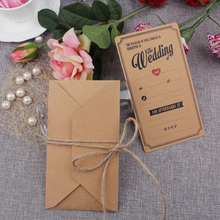 10 Unids Kraft Vintage Invitaciones De Boda Tarjeta de Invitación de La Boda Tarjetas con Los Sobres de Felicitación Decoración Festivo Suministros en Y tarjetas de Invitaciones de Hogar y Jardín en AliExpress.com | Alibaba Group