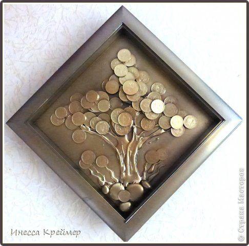 Картина панно рисунок Ассамбляж МОЁ денежное дерево и вазы фото 1