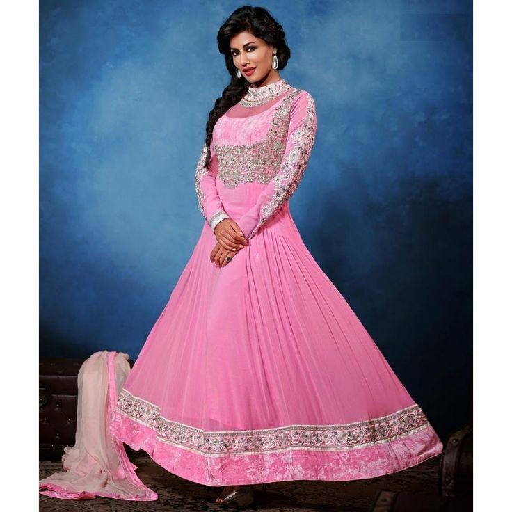 Chitrangada Singh Pink Georgette #Anarkali Suits- $80.64