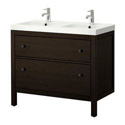 HEMNES / ODENSVIK Sink cabinet with 2 drawers - black-brown stain - IKEA - This is what I was thinking for the kids bath.