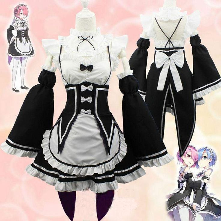 Ram/Rem Cosplay Maid Dress Costume Set Re:Zero Life In a Different World From Zero #JU1948