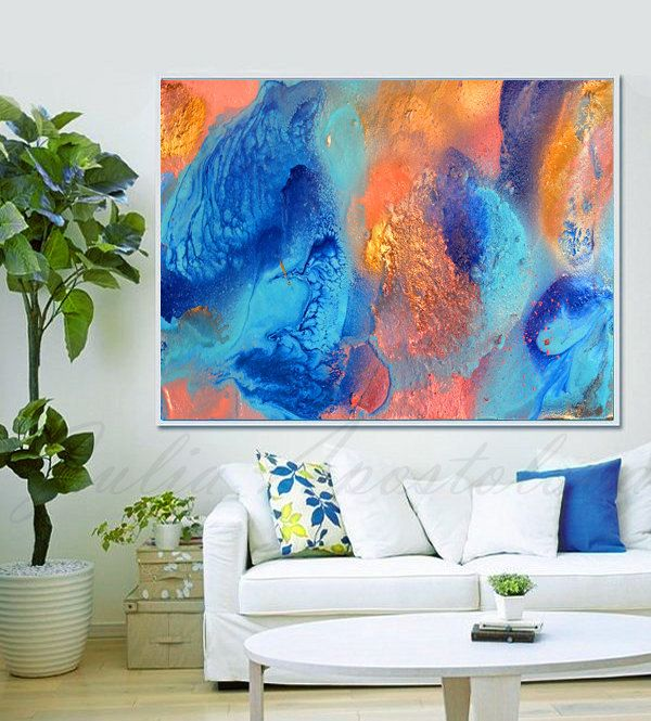 Turquoise and Orange Teal Decor, Abstract Painting, Turquoise and Coral…