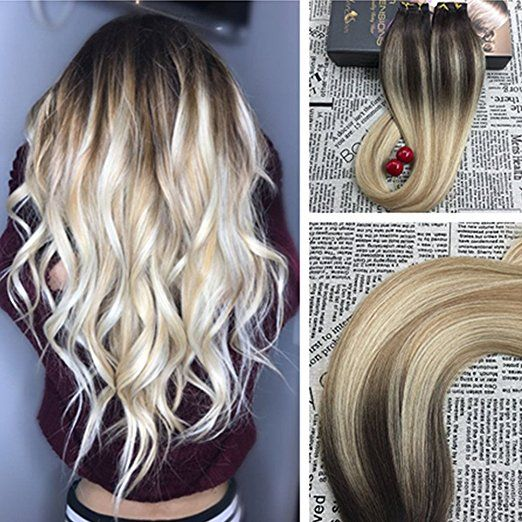 Best 25 glue in extensions ideas on pinterest glue in weave moresoo 16 inch balayage remy hair extensions tape in human hair color dark brown 2 fading to blonde 27 mixed 613 balayage tape extensions glue in hair pmusecretfo Gallery