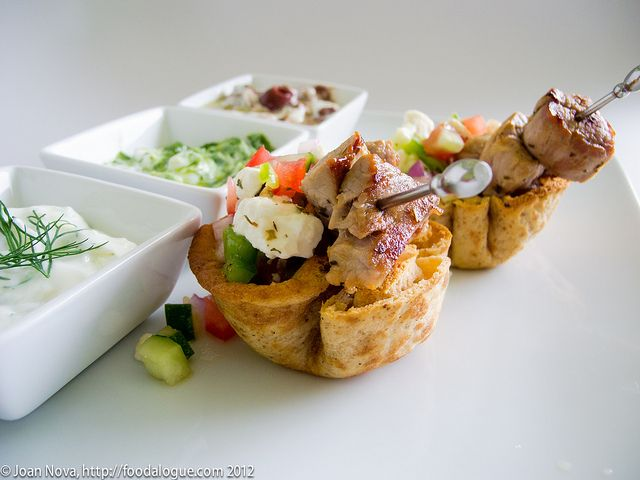 My souvlaki cups with horitaki salsa and 3 tzatziki sauces for the Greek Meze Makeover.