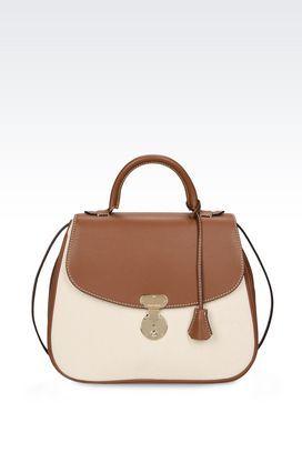 Armani Top handles Women calfskin and canvas cross body bag