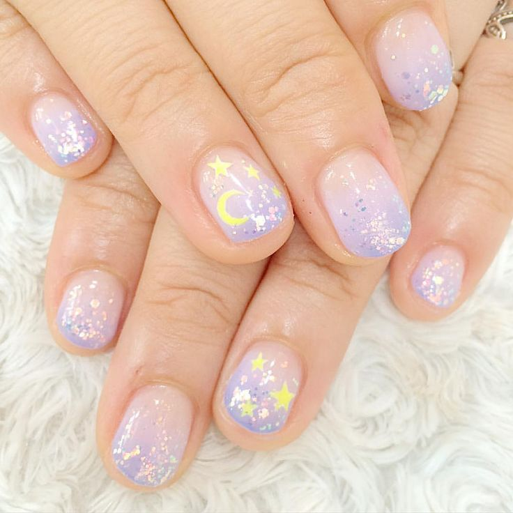 #pastel #stars #moon #cute #nails #nailart