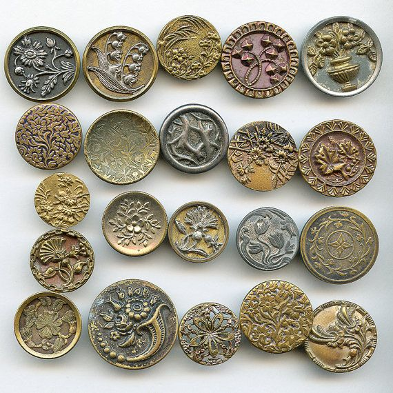 """Victorian Metal Buttons FLORAL PLANT Life Big Lot of (21) Large Antique Picture for CRAFTERS or Collectors Flowers 1""""  inch size 9231"""
