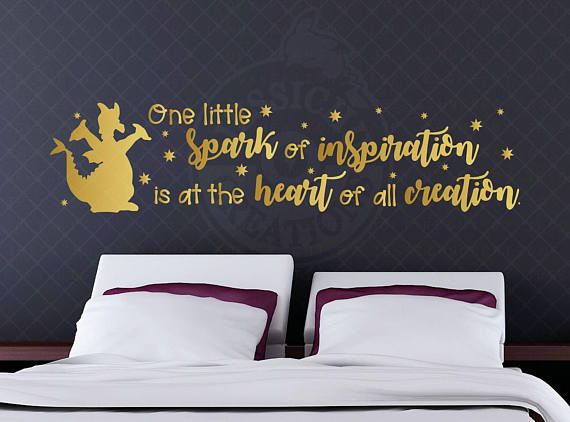 One little spark of imagination - Figment Dragon Walt Disney Inspired Quote, Disney Pixar Wall Vinyl Decal, Home Decor, Laptop Decal Macbook
