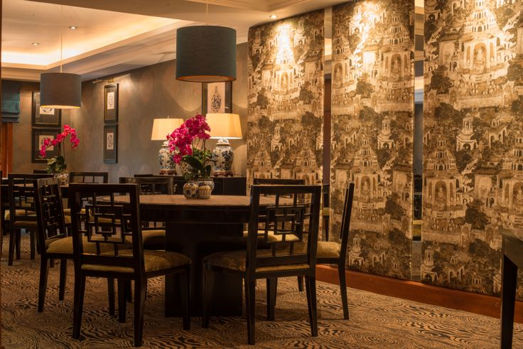 One of the many restaurants, the Thai Restaurant newly refurbished with bespoke carpeting and stunning wall panels covered in fabric, supplied by The Silkroad and imported to Sri Lanka.